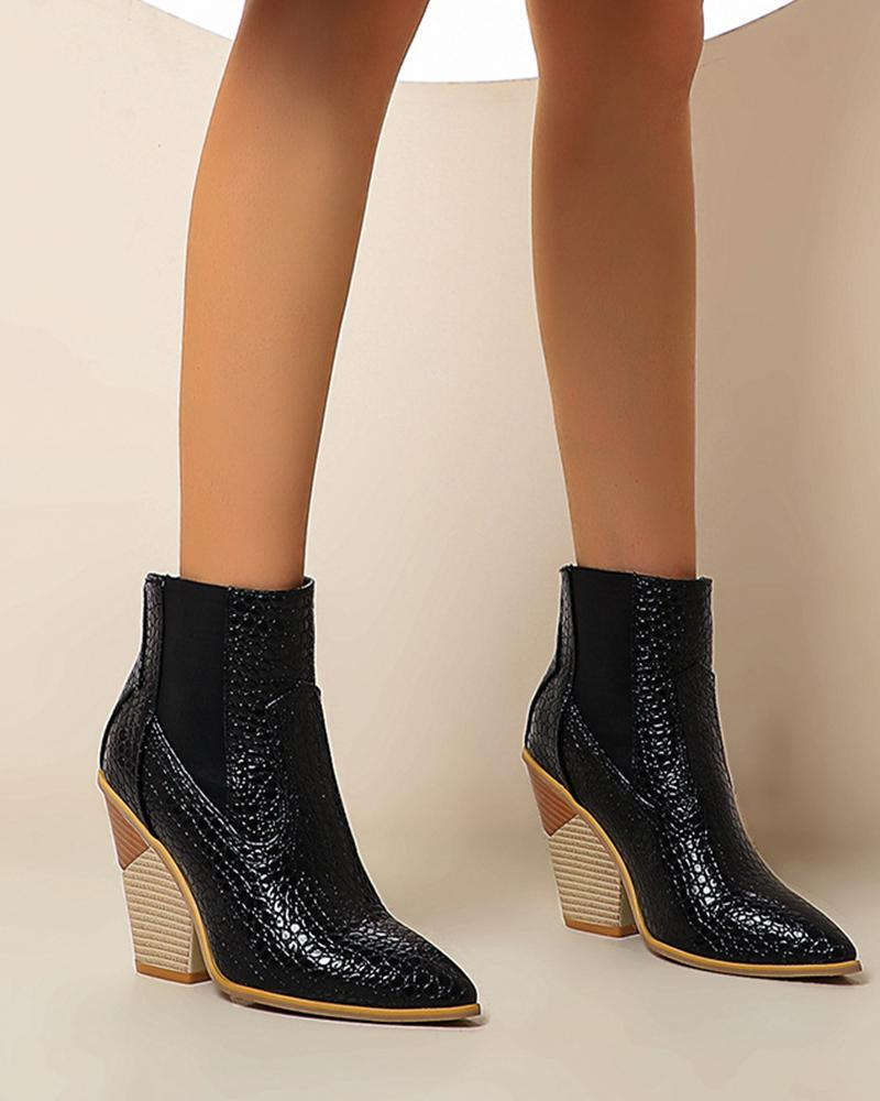 Pointed-toe Animal Printing Chelsea Boots