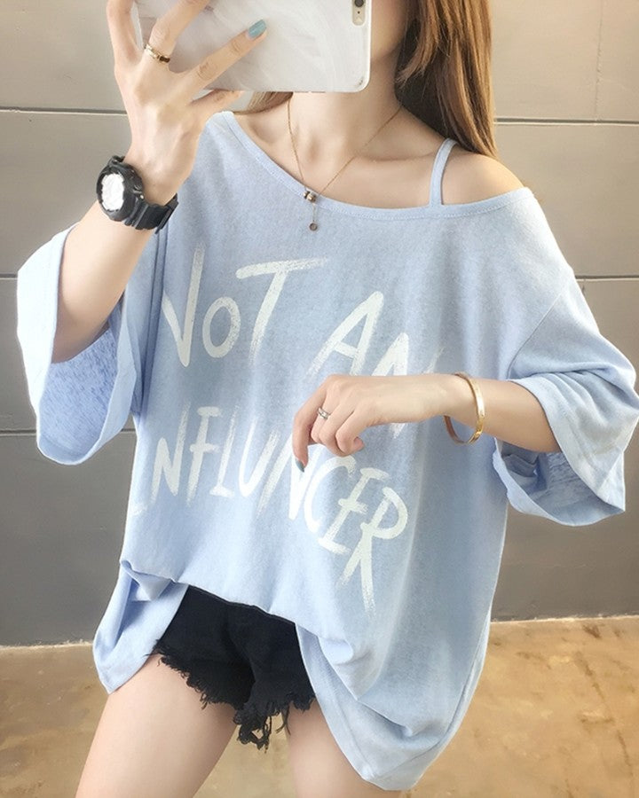Letter Print Short Sleeve Loose Cold Shoulder T-shirts