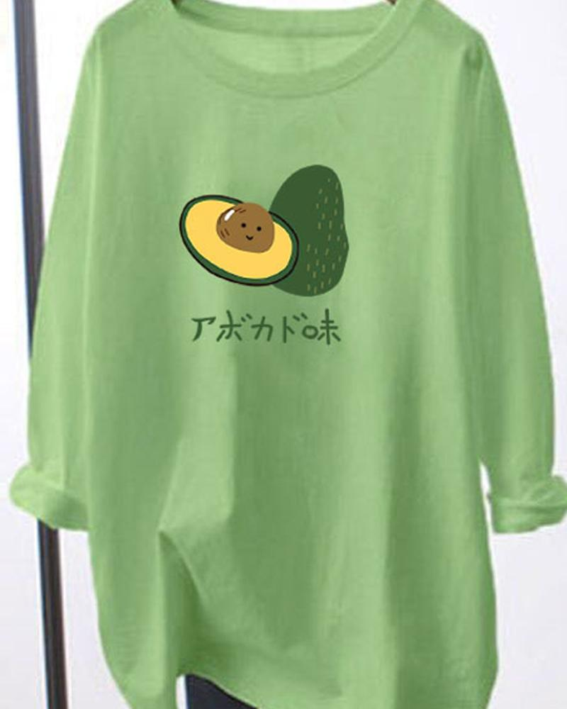 Avocado Print Long Sleeve Loose Oversized T-shirts