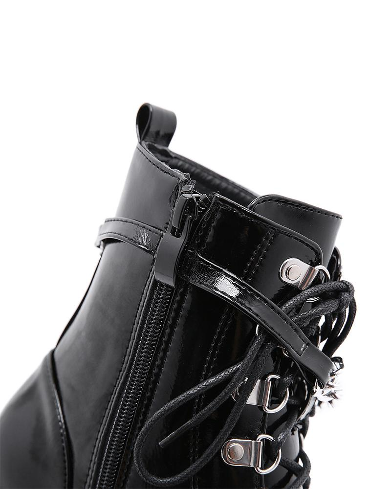 Round-toe Lace-up Chain Platform Martin Boots