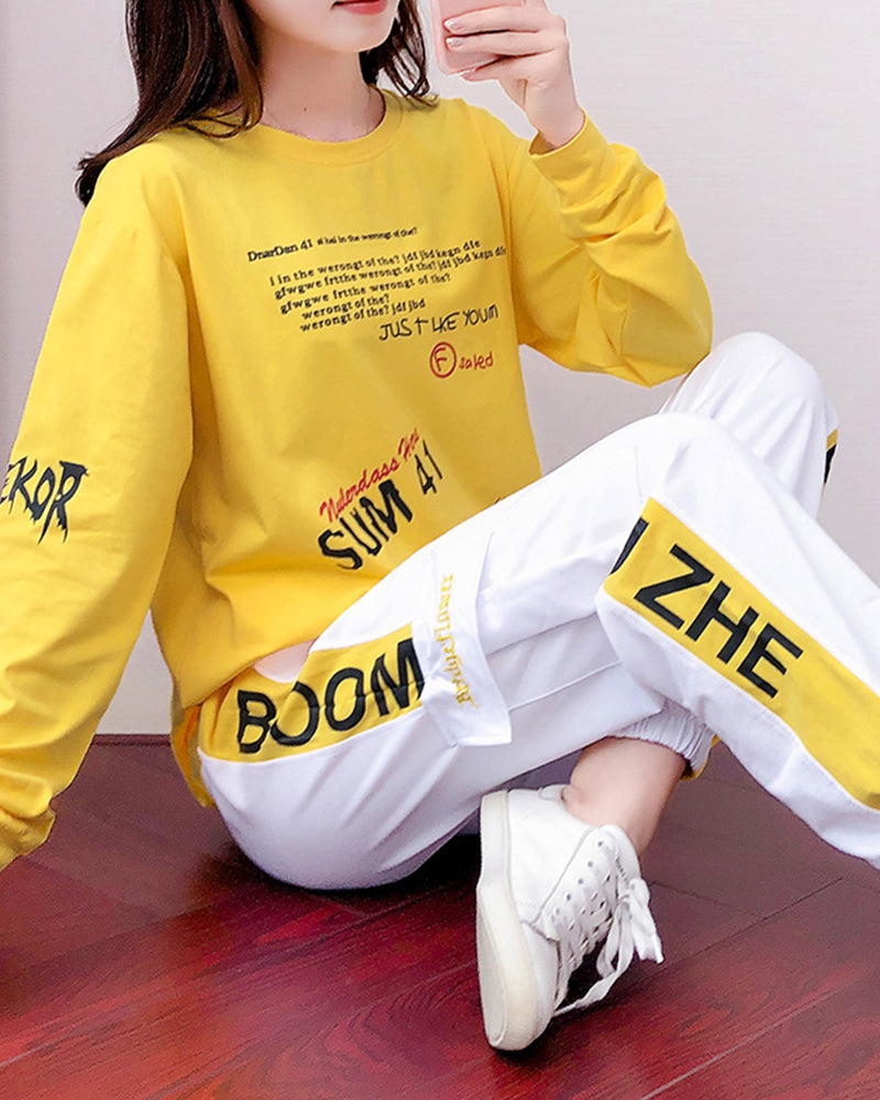 Letter Printing Long Sleeve T-shirt With Sweatpants Suit Sets