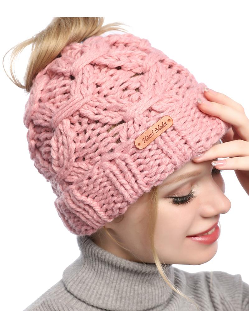 Solid Color Horsetail Hat Knitted Hat