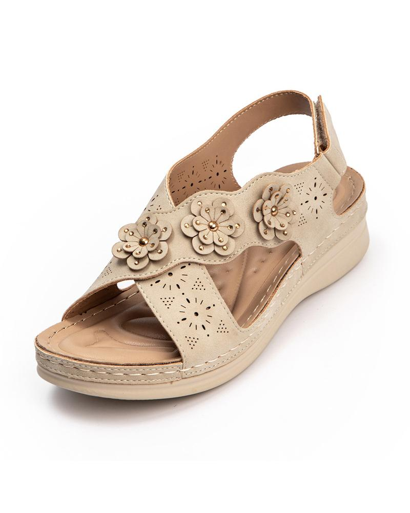 Cross Bandage Flower Decoration Cut-out Wedge Sandals