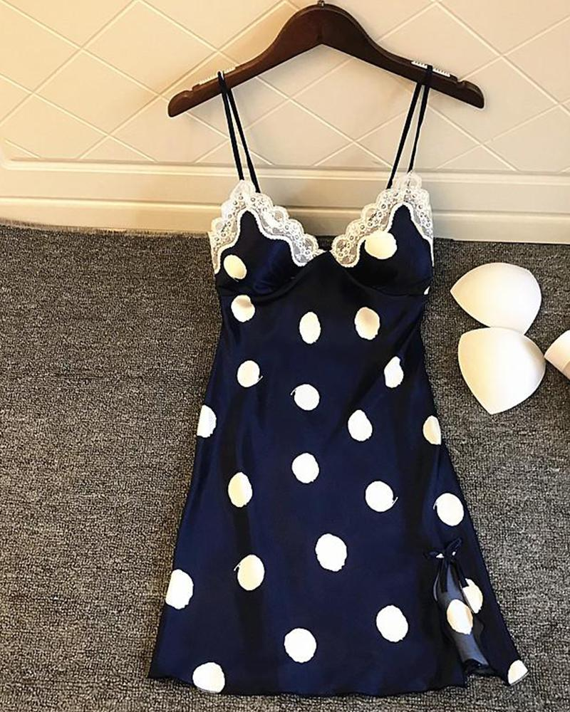 Polka Dot Lace Trim Slip Dress