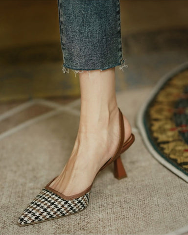 Houndstooth Print Hollow-out High Heels