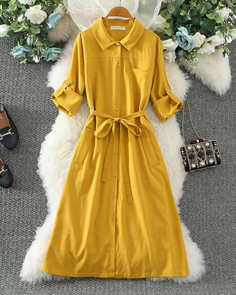 Solid Long Sleeve Loose Lace-up Waist Dress