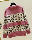 Leopard Patchwork Long Sleeve Sweater