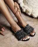 Solid Tassel Band Upper Round-toe Flat Sandals