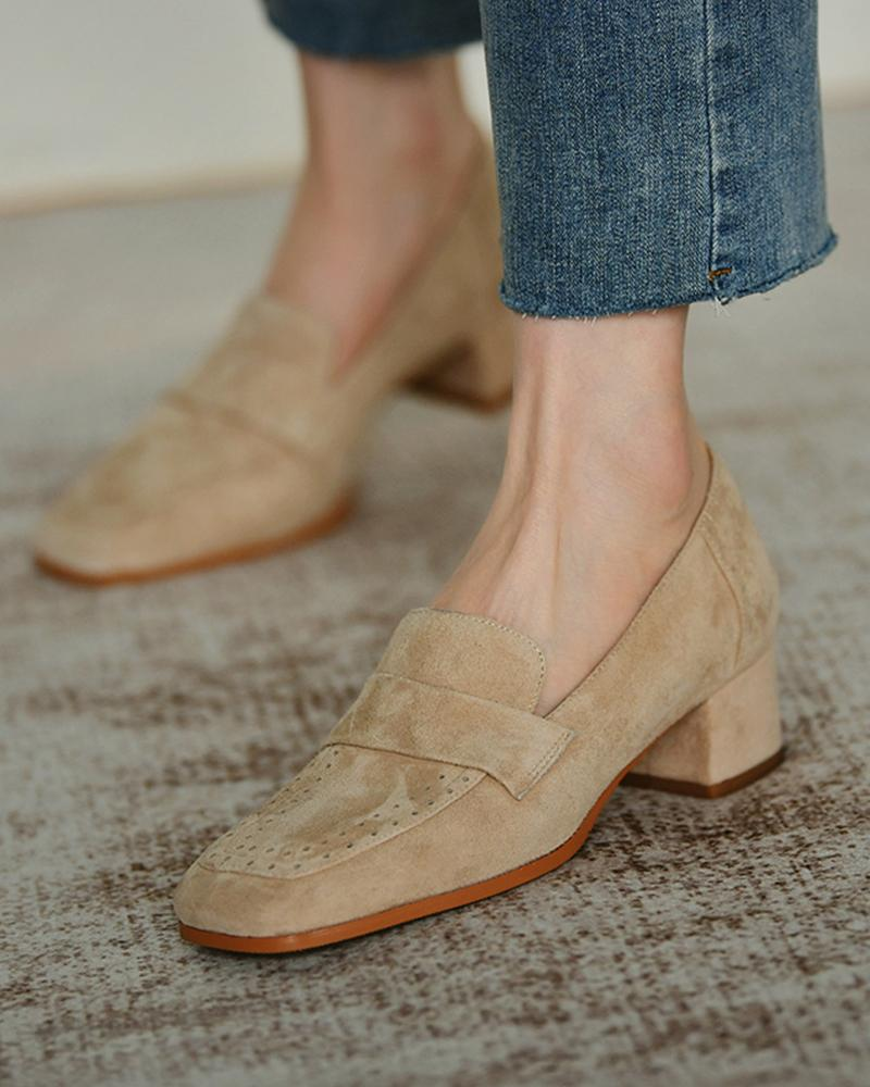 Square-toe Suede Leather One Straps Loafers