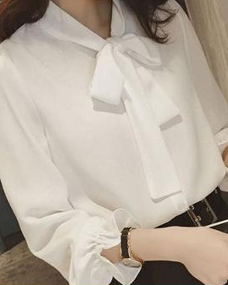 Solid Tie Neck Chiffon Blouse