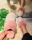 Solid Fluffy Round-toe Flat Sandals