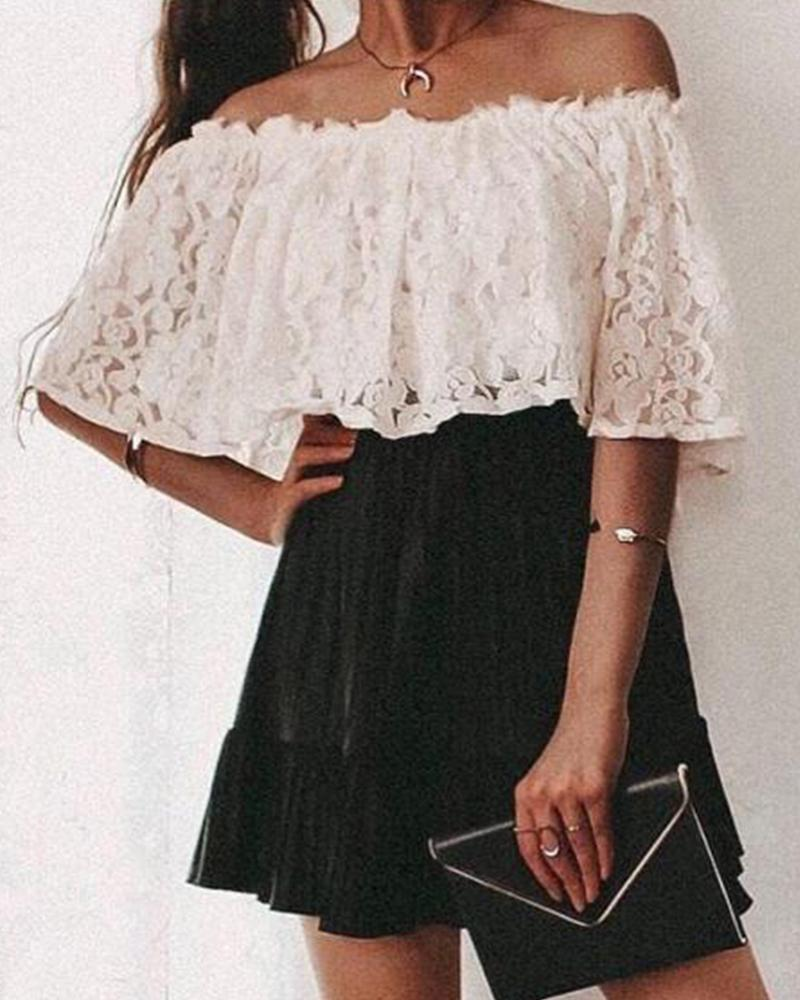 Off Shoulder Layered Lace Top