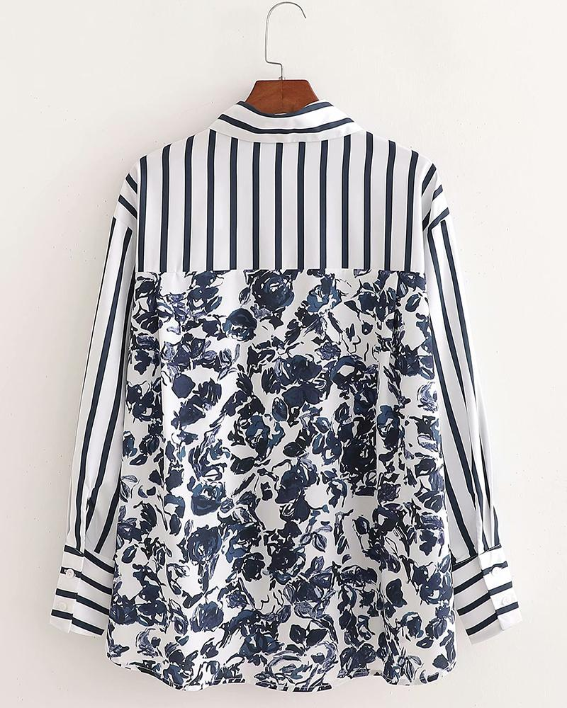 Stripe Stitching Printing Long Sleeve Blouse