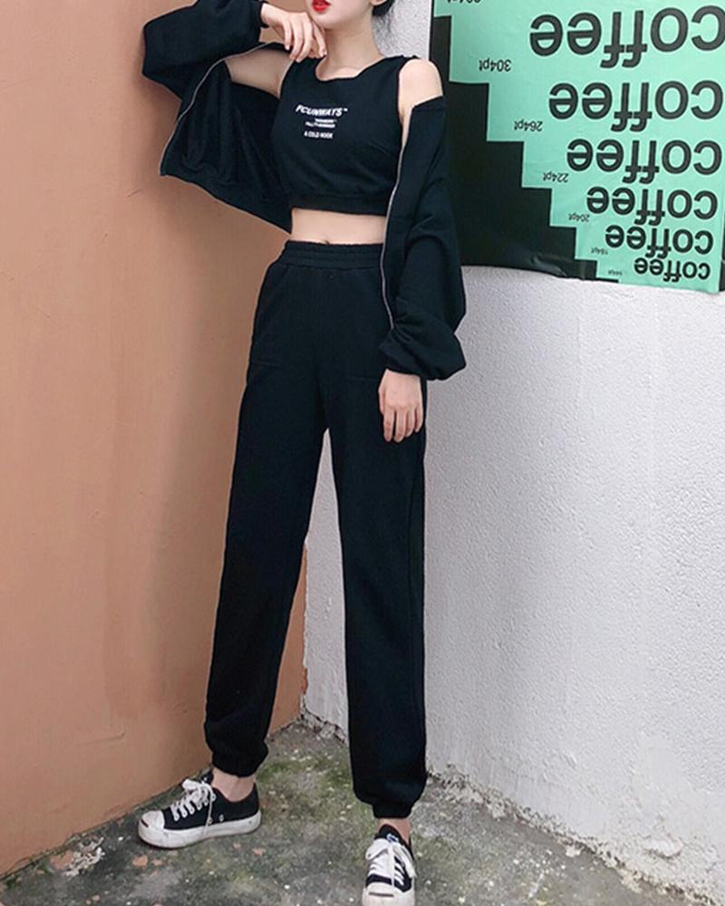 Letter Printing Cropped Tanks With Long Sleeve Coats With Pants Suit Sets