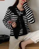 Striped Shawl Tie Long Sleeve Sweater