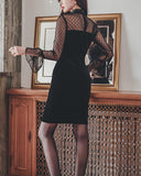 Stitching Lace Long Sleeve Little Black Dresses