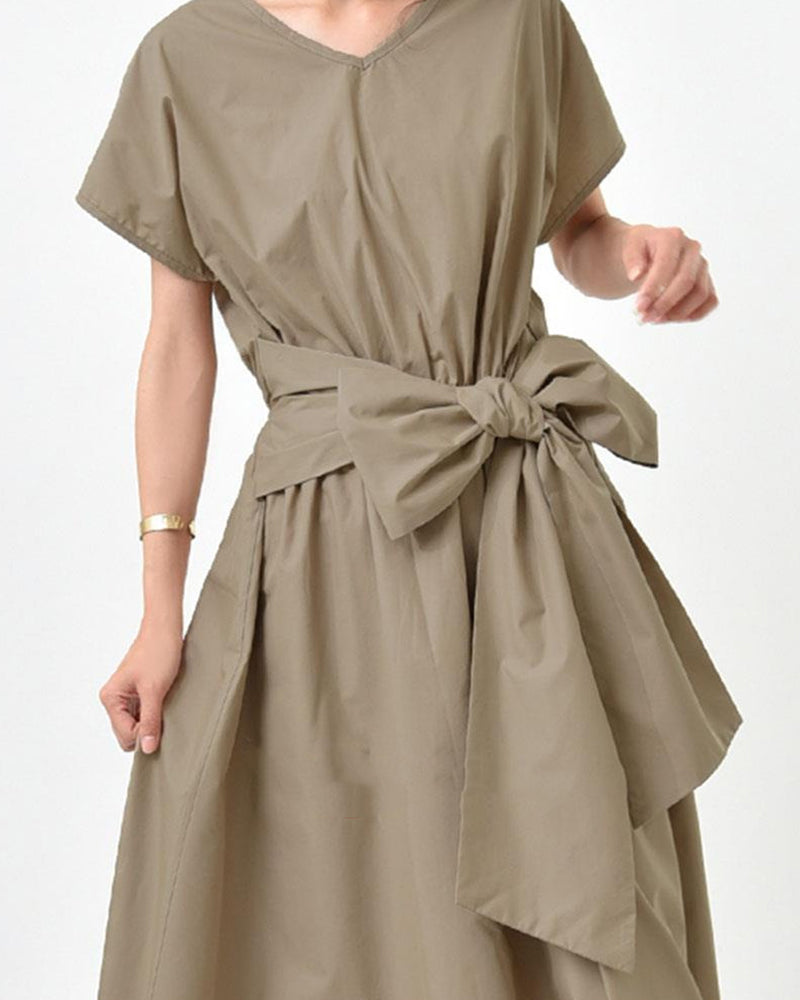 Solid Color Bow-knot Short Sleeve Dress