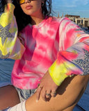 Fashion Tie Dye Sequins Sweatshirt