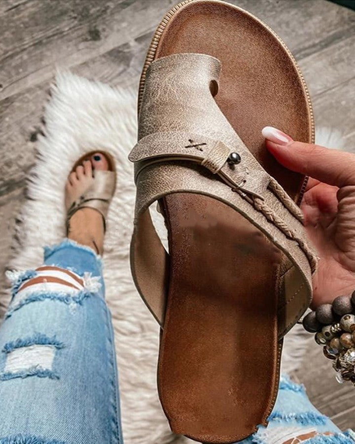 Solid Patchwork Post-toe Platform Sandals