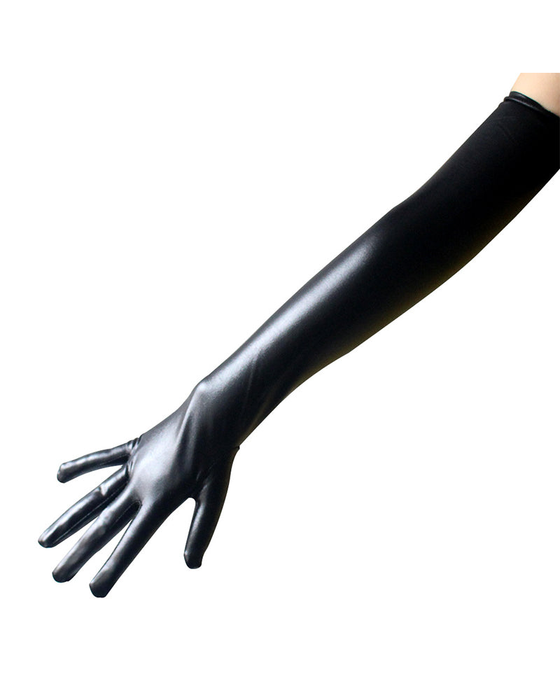 Sexy Solid Color Faux Leather Length Gloves