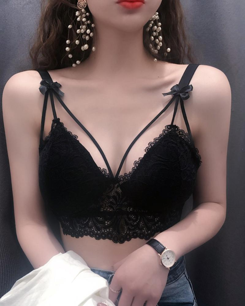 Solid Lace Bustier Crop Top