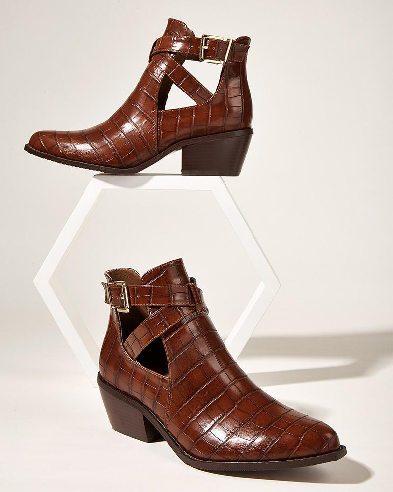 Solid One Buckle Pointed-toe Cut-out Leather Ankle Boots