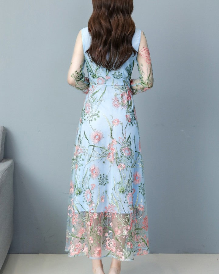 Mesh Splicing Floral Embroidery Long Sleeve Maxi Dress