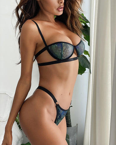 Sexy Glitter O-ring Strappy Sling Bra Sets