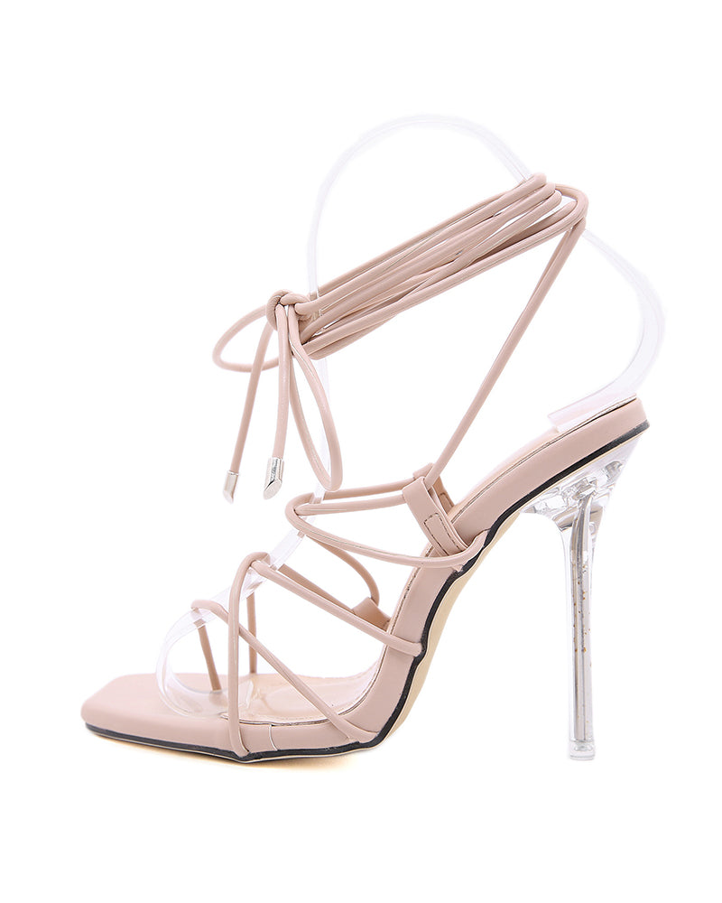 Hollow Lace-up Square-toe High Heels