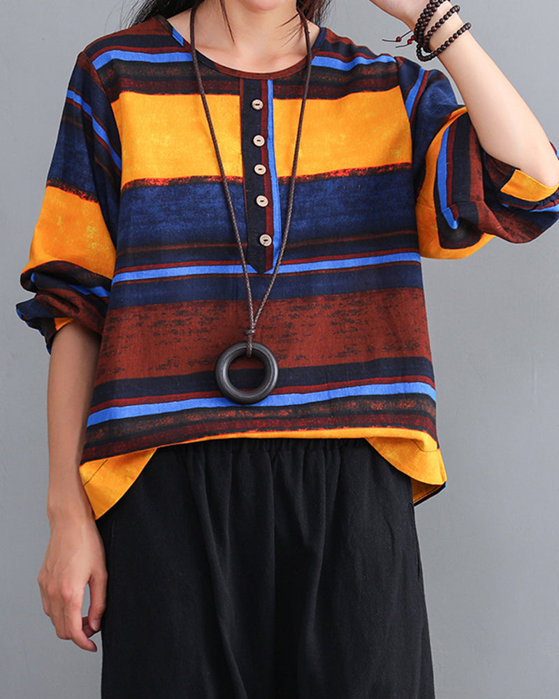 Multicolor Striped Long Sleeve Loose Blouse