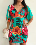 Floral Print V-Neck Casual Dress