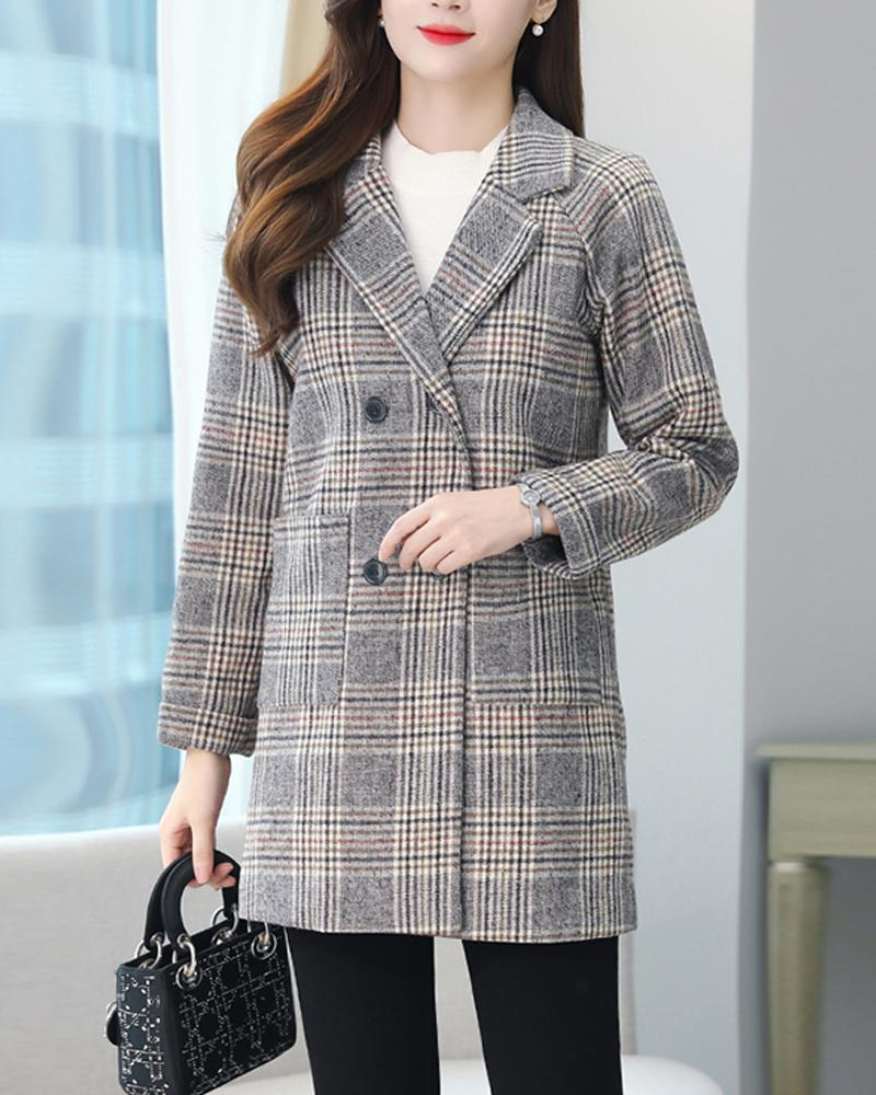 Plaid Long Sleeve Button-down Coats