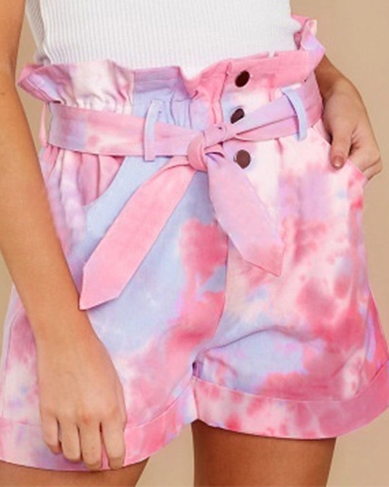 Tie Dye Pocket Belt Short Pants