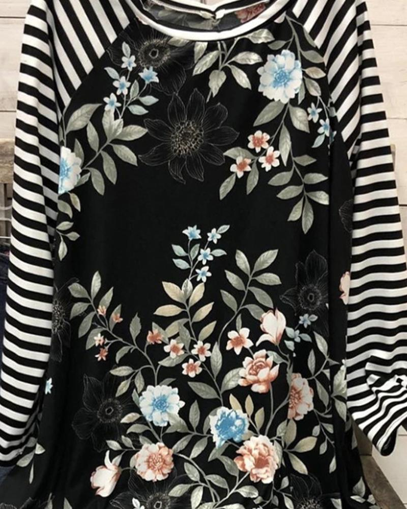 Striped Floral Print Long Sleeve T-shirts
