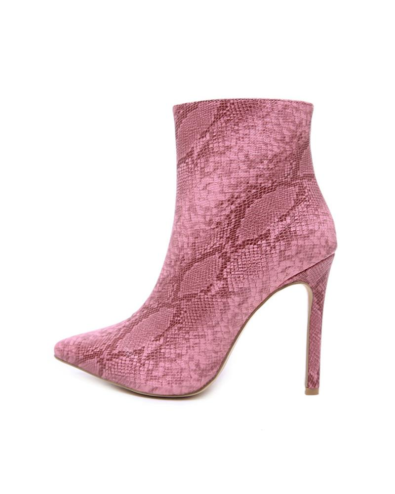 Snakeskin Printing Pointed-toe High Heel Ankle Boots