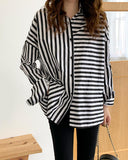 Loose Striped Long Sleeve Blouse