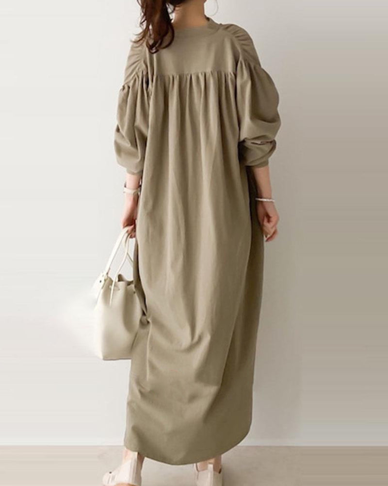 Solid Color Stitching Loose Dress