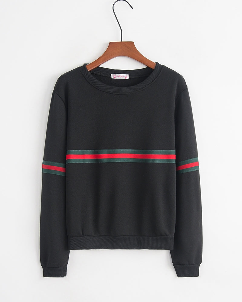 Striped Colorblock Long Sleeve Loose Sweatshirts
