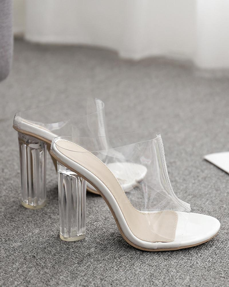 PVC Open Toe Block High Heel Sandals