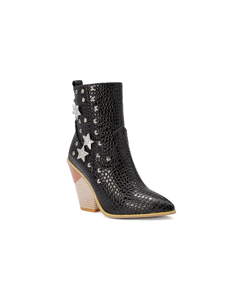 Star Crocodile Print Pointed-toe Chelsea Boots