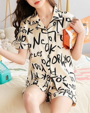 Letter Print Short Sleeve Loose T-shirts With Shorts Suit Sets