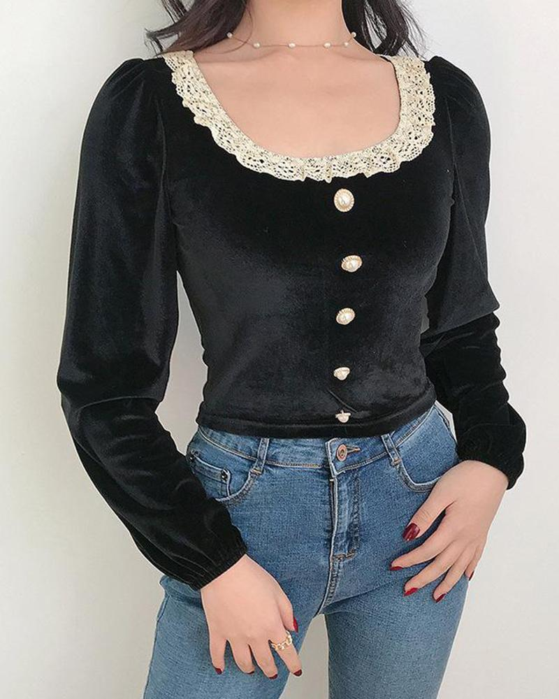 Lace Collar Button Detail Crop Top