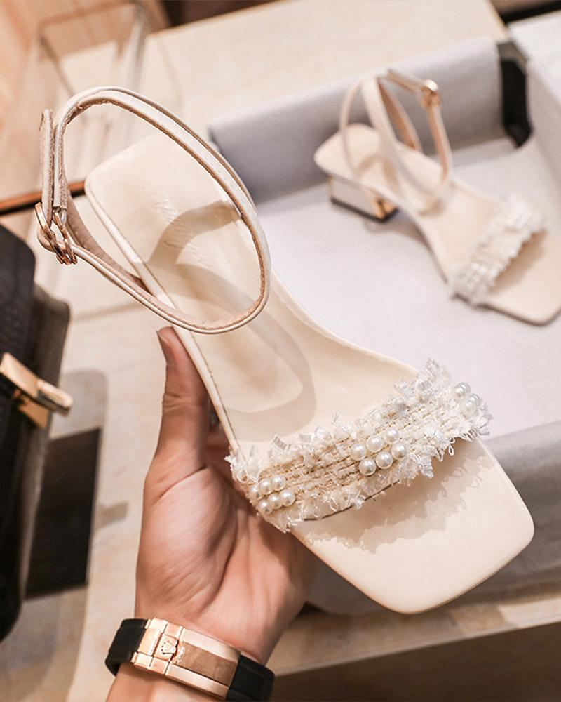 Pearl Open Toe Low Heel Sandals