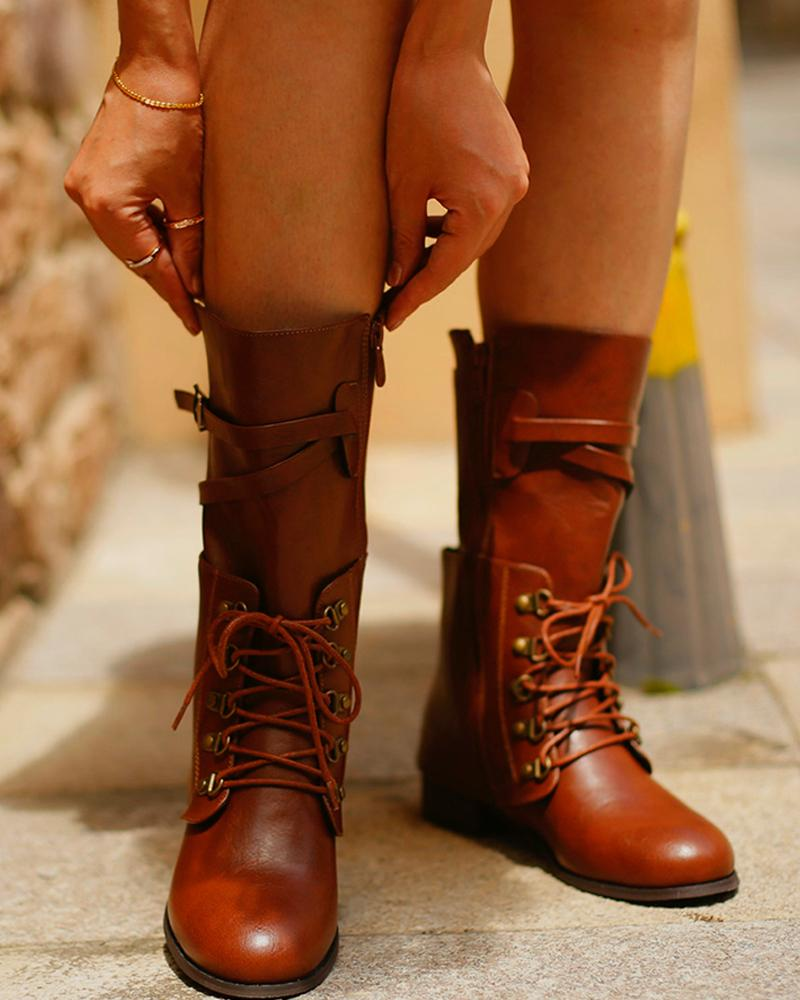 Solid Color Round-toe Lace-up Martin Boots
