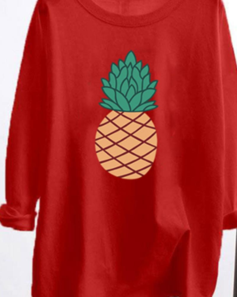Pineapple Printing Long Sleeve Loose Blouse