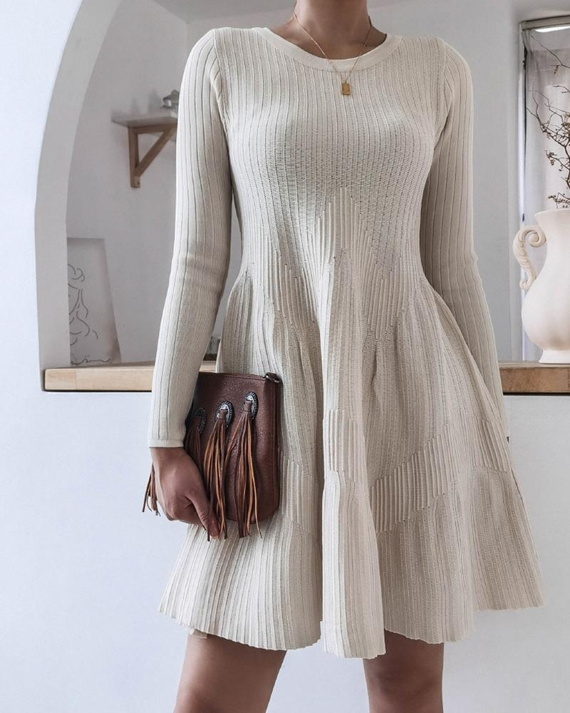 Solid Long Sleeve Skinny Waist Sweater Dress