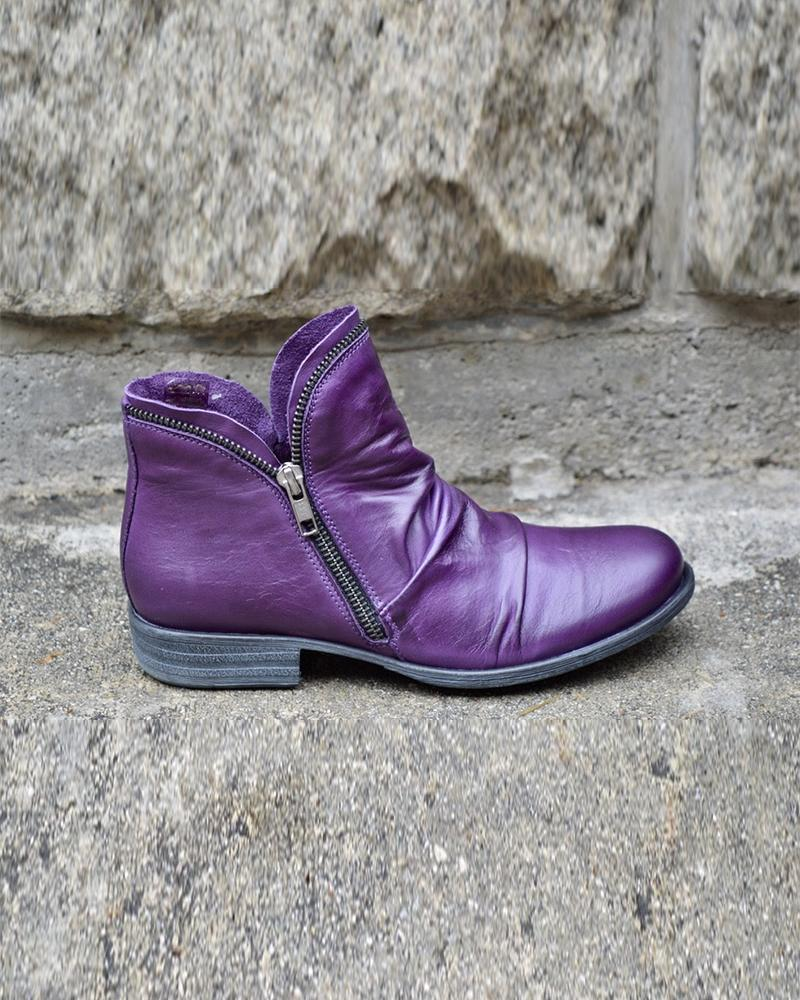 Solid Zipper Closure Ankle Boots