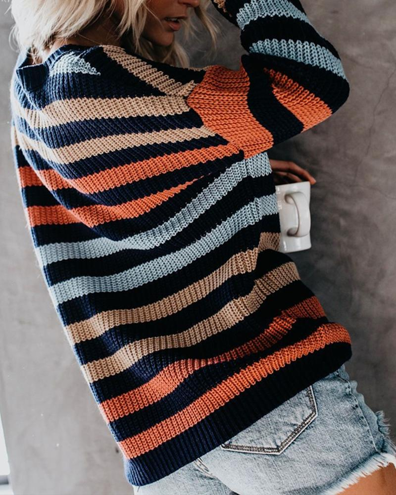 Knit Loose Pullover Sweater Crew Neck Long Sleeve Striped Tops