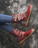 Stitching Printing Leather Ankle Boots