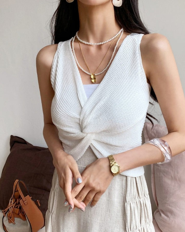 Solid Color Backless Sleeveless Knitted Tank Top
